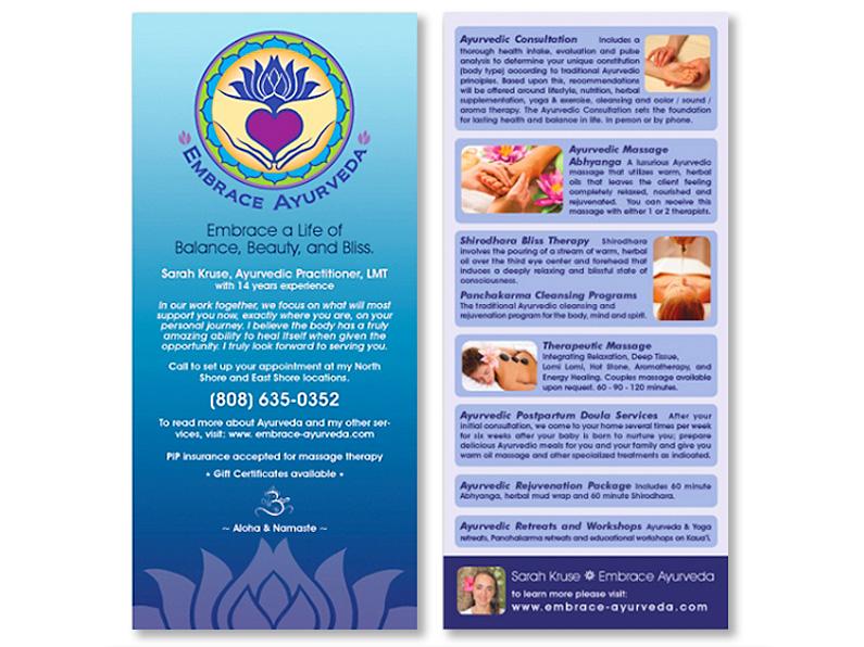 brochure design: Embrace Ayurveda