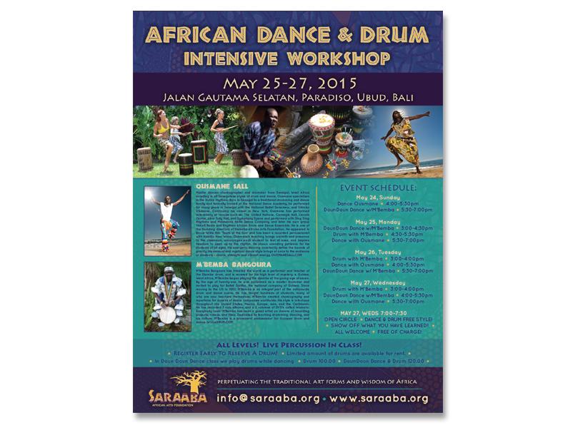 Poster: Saraaba Bali African Dance & Drum Intensive