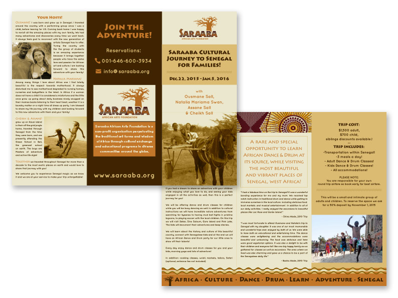 trifold brochure: Saraaba Africa Trip